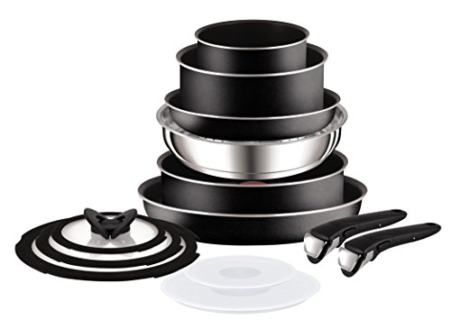 Tefal Ingenio Essential Non-stick Saucepan Set, 13 Pieces - Black