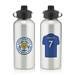Official PERSONALISED Leicester City FC Aluminium Silver Water Bottle with Spring Hook (600ml) - FREE PERSONALISATION