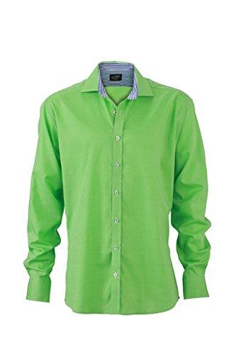 JAMES & NICHOLSON Camicia da uomo in design trendy a pois green/blue-white