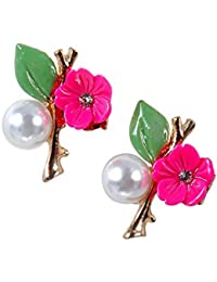 THE BLING STUDIO -Pink Stone With Pearl Head Emerland Beautiful Tops Earrings. (BS7E18)