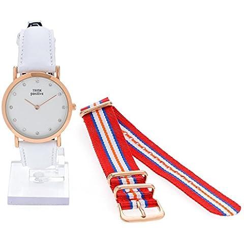 Señoras THINK POSITIVE® Modelo SE W96 Rosè Pulsera De Cristal Reloj Medio Plana De Acero De La Correa De Cuero Hecho Blanco En Italia Y Cordora Color Rojo, Azul, Naranja