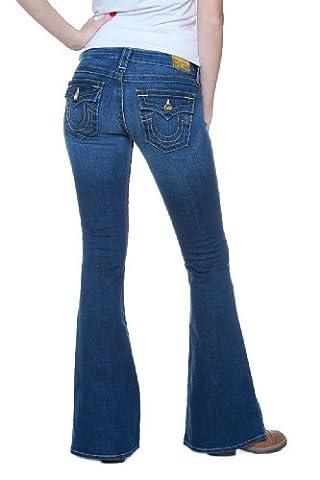 True Religion Jean Flare RAEGAN GOLD TRIM SKINNY K, Couleur: Bleu, Taille: 26