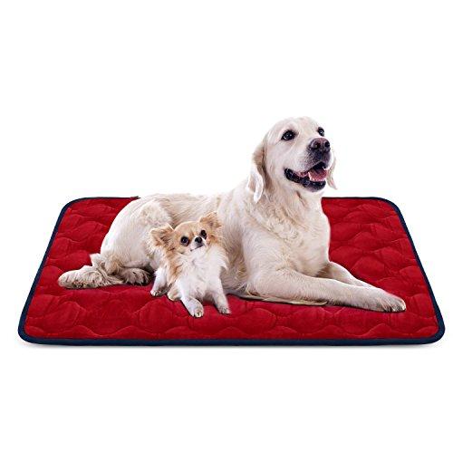 Hero Dog Cama Colchoneta Perro Grande Lavable, Cojines para Mascotas Antideslizante Vellón Almohadilla Suave 120x85 cm (Rojo XL)