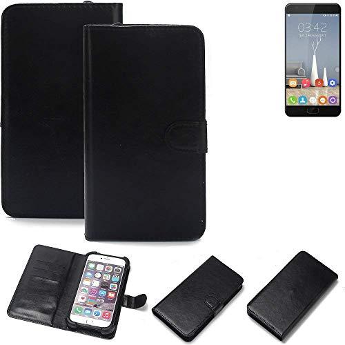 K-S-Trade® 360° Wallet Case Handyhülle Für Oukitel K6000 Plus Schutz Hülle Smartphone Flip Cover Flipstyle Tasche Schutzhülle Flipcover Slim Bumper Schwarz, 1x