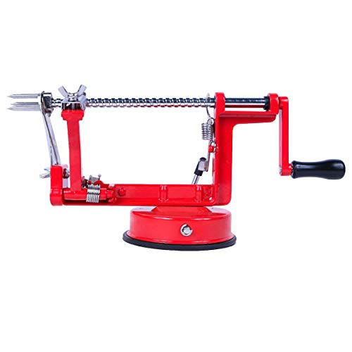 ARSUK Apple Fruit Pineapple Peeler Corer Slicer Cutter Core Remover Tool Machine (Red Peeler)