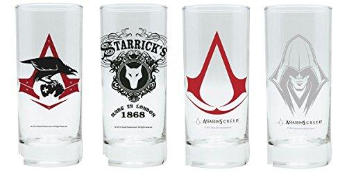 (Assassins Creed - Trinkgläser 4er Set 300 ml - Syndicate & Logo)