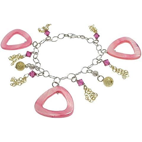 Bracciale in argento 925 rodiato con Charms 3 Triangoli Madreperla Rosa 6 Pendenti in Cristallo e 2 Palline Laminato Oro Pezzo UNICO