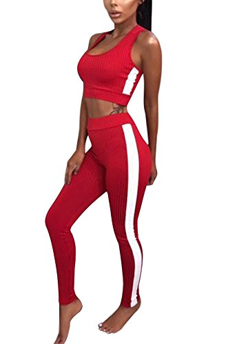 Tomwell Damen Sportbekleidung Yoga Outfit U-Ausschnitt Tops Fest Leggings Sporthose Jogginghose Skinny Elastische Hosen 2 Stück Rot DE 36