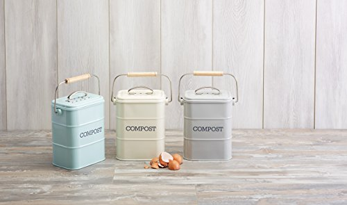KitchenCraft Living Nostalgia Duck Egg Blue Kitchen Compost Bin