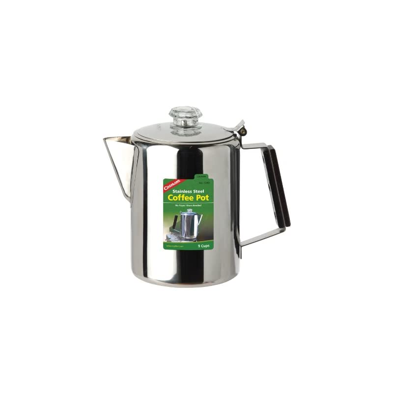 Coghlans Unisex – Adult Coffee Pot Stainless Steel Jug, Silver, 9 Cups