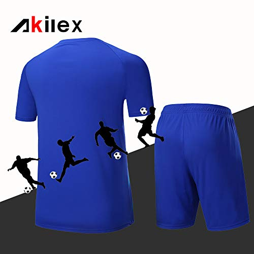 Football Uniform Football Shirts Football Jersey For Men Soccer Shorts Set Football Kits Training 100  Polyester Breathable Quick Dry Short Sleeve T-shirts 5005 Blue