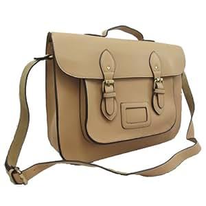 New Vintage Designer MEDIUM Unisex Faux Leather Satchel/Net Book Carrier/School Bag-BY UKFS (Beige)