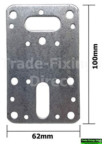 Confezione da 4 piastre di giunzione piatte, 100 mm x 62 mm, zincate, staffe per travetti in legno, ideali per applicazioni su pavimenti e recinzioni.