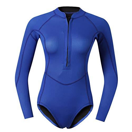 Baoblaze Damen Langarm Neoprenanzug 2mm Badeanzug Sport Rash Guard UV-Shirt Schwimmanzug Surfanzug Tauchanzug Surf Suit - Blau M