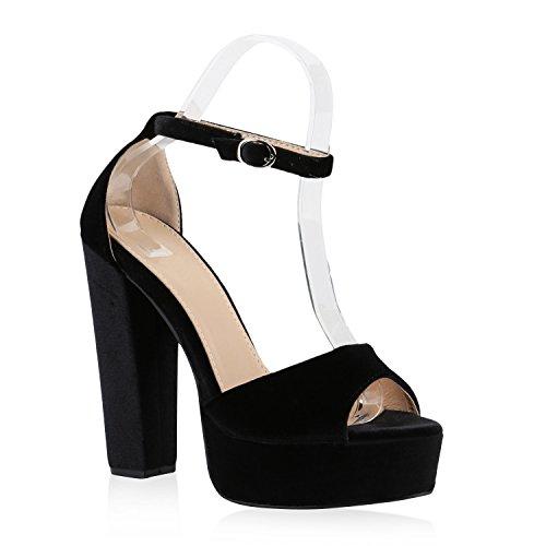 Damen Plateau Sandaletten | Peeptoes Party Schuhe | Pumps Blockabsatz High Heels |Satin Samt Strass Fransen Schwarz Camiri
