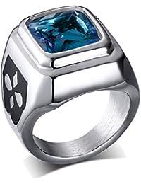UM Joyería Mujer Hombres Cristal Acero inoxidable Cuadrado De sello anillos Azul Plata