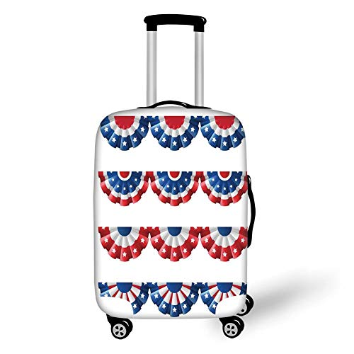 Travel Luggage Cover Suitcase Protector,American Flag Decor,Flag Round Bunting Election Ornament Politic Union Ribbon Event Pattern,Blue Red,for Travel S