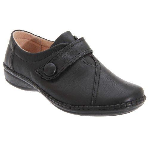 Boulevard - Zapatos con Tira de Velcro con Ancho Especial XXX para Mujer (38 EU/Negro)