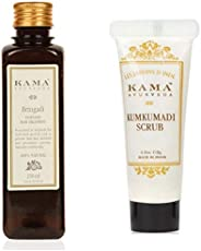 Kama Ayurveda Bringadi Intensive Hair Treatment Oil, 8.4 Fl Oz + Kumkumadi Brightening Ayurvedic Face Scrub, 8