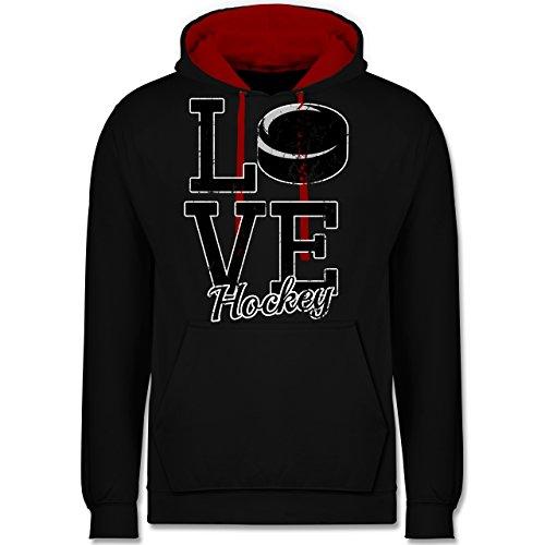 Shirtracer Eishockey - Love Hockey - 3XL - Schwarz/Rot - JH003 - Hoodie zweifarbig und Kapuzenpullover für Herren und Damen