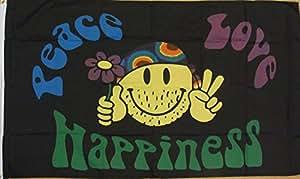 Peace Love and Happiness Hippy Rainbow 5'x3' Flag