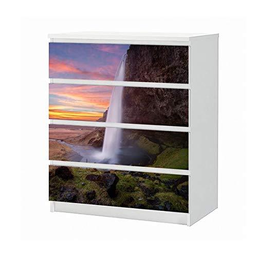 Set Möbelaufkleber für Ikea Kommode MALM 4 Fächer/Schubladen Wasserfall Island schöne Landschaft Aufkleber Möbelfolie sticker (Ohne Möbel) Folie 25B1006 -