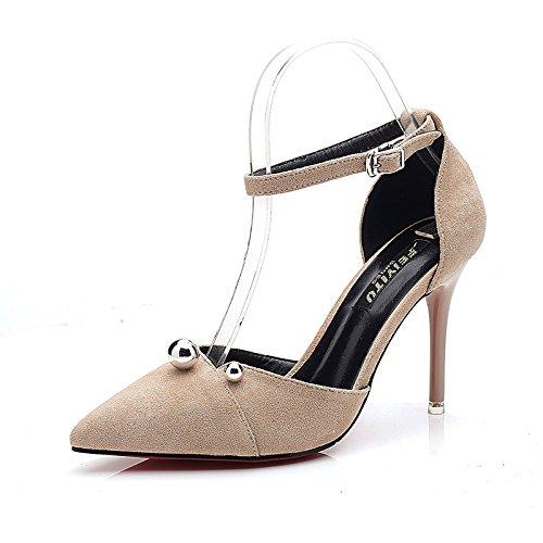 LGK&FA Estate Donna Sandali sandali donna estate Baotou belle e alla moda di scarpe da donna in pelle scamosciata Hasp poco profonda Ol High-Heeled scarpe 35 giallo 35 apricot