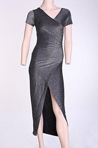 Fashion Damen Maxikleid Kurze Hülse Abendkleid Spaltung Bodycon Partykleid Cocktail Party Pencil Kleider mit Silber
