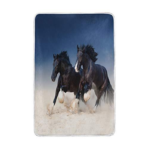 Home Decor Zwei strapazierfähige schwarze, schöne Pferdedecke entlang des Sandes weiche warme Decken für Bett Couch Sofa Leichtes Reisen Camping 152,4 x 228,6 cm Überwurfgröße für Kinder Jungen Damen