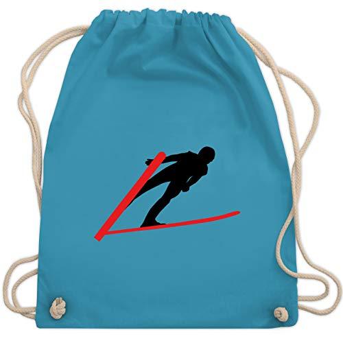 Wintersport - Skispringer Skispringen - Unisize - Hellblau - WM110 - Turnbeutel und Stoffbeutel aus Bio-Baumwolle