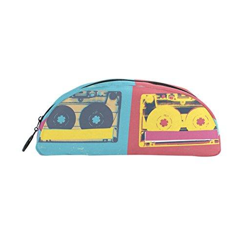 COOSUN - Estuche para lápices de cassette de audio, semicircular, bolígrafo, bolsa, estuche para maquillaje, bolsa de cosméticos para mujeres y niñas