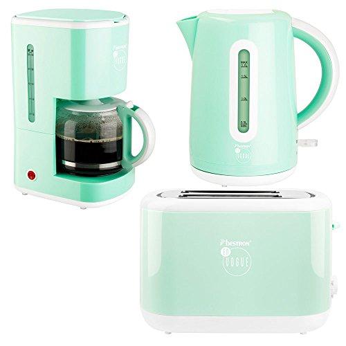 3er Set Wasser Kocher Erhitzer kabellos 2 Scheiben Toaster Kaffee Maschine mint gruen