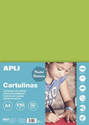 APLI 14232 - Cartulina verde claro A4 170 g 50 hojas
