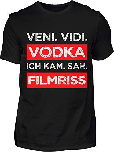 Kreisligahelden T-Shirt Herren Lustig Veni Vidi Vodka - Kurzarm Shirt Baumwolle mit Spruch Aufdruck - Karneval Party Junggesellenabschied Fun Saufen Vodka (XL, Schwarz)