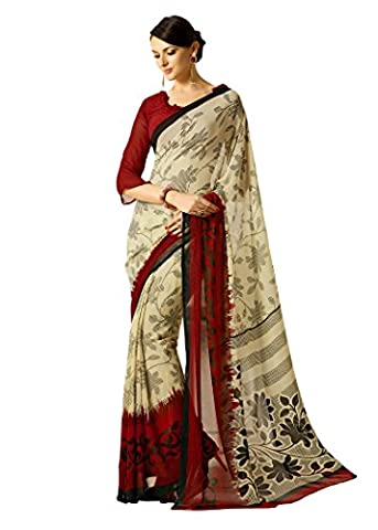 Jaanvi Fashion Women's Red Georgette Printed Saree with unstitched