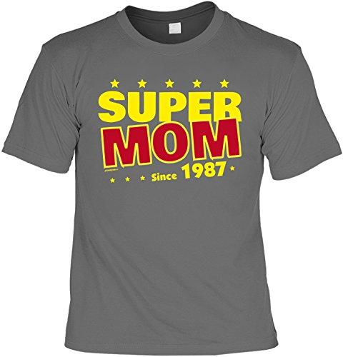 T-Shirt zum 30. Geburtstag Super Mom since 1987 Geschenk zum 30 Geburtstag 30 Jahre Geburtstagsgeschenk 30-jähriger Anthrazit