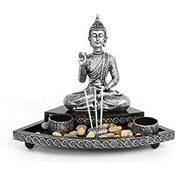 Quemador de incienso y vela para jardín, diseño de Buda meditando, set de regalo