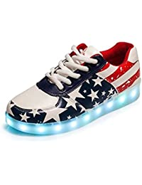 SPORT SHOES Monika Creations Unisex USB Rechargeable US FLAG LED Simulation Shoes Sneaker - Light Up Your Personality