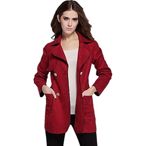ZYQYJGF Slim Trench Femminile Sartoria Faux Suede Retro Pocket Doppio Petto Cappotti Delle Lane Del Tasto Red Jacket . M