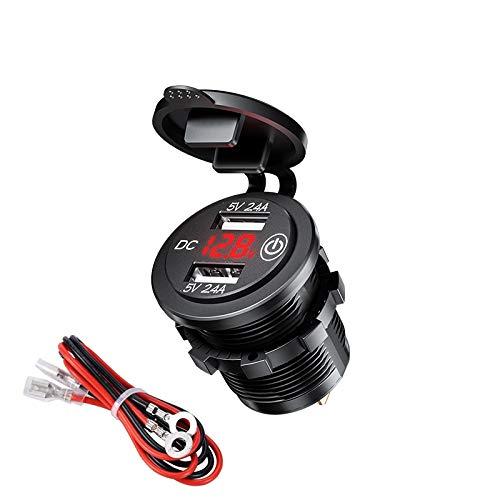 Ygl impermeabile caricatore per auto doppio usb con switch, presa usb 12v / 24v 2.4a e 2.4a con voltmetro digitale a led per auto, marina, barca, moto, camion, ecc(rosso)