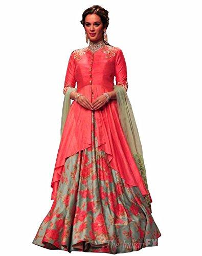 FebForrest Women\'s Pink Banglory Indo-Western Lahenga Choli [SL 7(DS_A1463)]