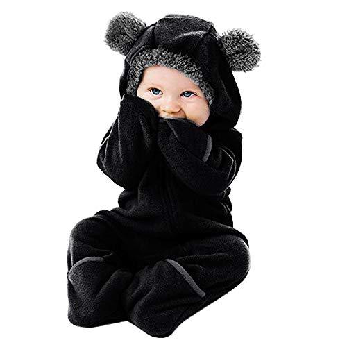 Mitlfuny Niños Niñas Monos de Manga Larga para Bebés Invierno Caliente Grueso Mameluco con Pie Capucha Cremallera Felpa Sólido Peleles para Recién Niña Nacido Ropa Pijamas de Franela 0-24 Meses