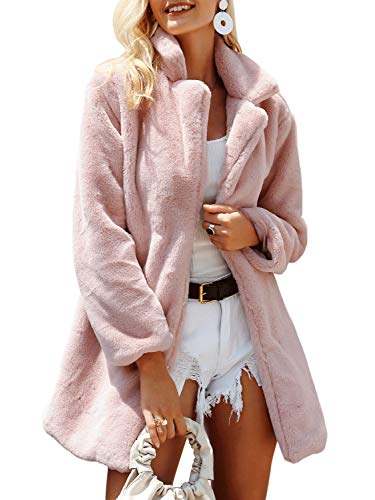Terryfy Damen Pelz Mantel Elegant Lang Warm Fellmantel Winter Fur Coat Jacke Rosa