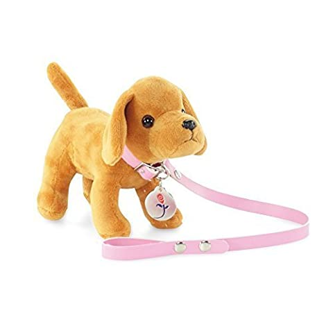 18-inch Doll Accessories | Brown Puppy Dog with Leash and Dog Tag | Fits American Girl Dolls by Emily Rose Doll Clothes