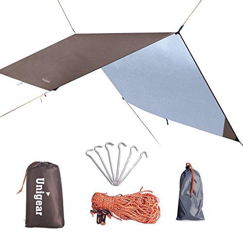 Unigear Hängematte Regenschutz Zeltplanen Tent Tarp, tragbare leichte wasserdichte Camping Shelter Sonnenschutz für Camping Outdoor Travel (Kaffee, 300*300cm)