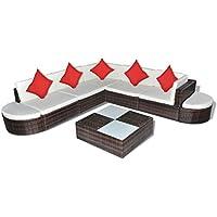 vidaXL Set Muebles de Jardín 27 Pzs Poly Ratán Marrón Cojines Blancos y Rojos