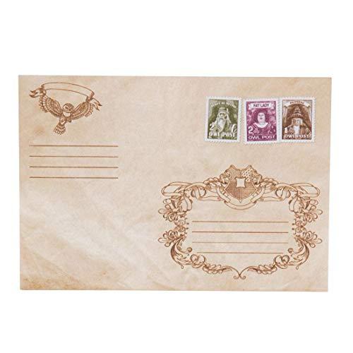 getDigital Eulenpost Briefumschläge   Mit gedrucktem Wachsiegel, Briefmarken und Motiven   Set aus 10 Umschlägen als magischer Fanartikel