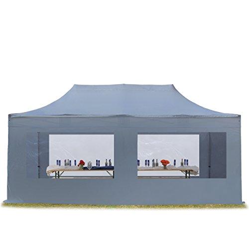 TOOLPORT Faltzelt Professional 3x6 m mit Panoramafenster Faltpavillon ALU Pavillon Partyzelt in dunkelgrau PROFIZELT24