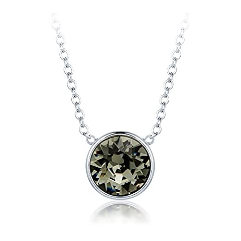 MYJS Bella Drop Necklace Rhodium Plated with Black Diamond Swarovski Crystals, Birthstone Pendant Gift 16+2
