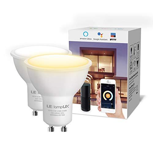 LE LampUX Wi-Fi LED Lampe GU10, 4,5W 2,4 GHz WLAN Lampe=50W Halogenglühlampe, gesteuert via Alexa/Google Home/App/IFTTT (ohne Hub, dimmbar, 2700-6500K), 2 Pack
